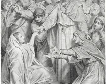 1889 Antique print JESUS Healing Widow - Young CHRIST at TEMPLE Life Christ Miracle Easter Gift Christian art 19th century Victorian era art