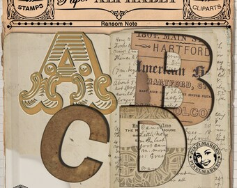 Alpha Cliparts Set Digital ALPHABET Ransom Note Fonts Paper Letters cliparts for Scrapbooking Web Blog Design Clear Stamp 278