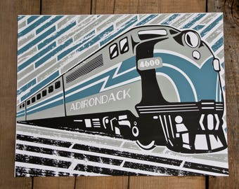 Adirondack Railroad Train Engine // Handmade Screenprint