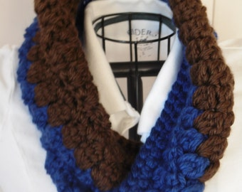 Double Twist Hometown Cowl, Brown & Blue Ready to Ship
