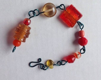 Red with Blue wire Beaded Bracelet