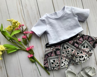 """18"""" Doll Crop Top, Circle Skirt to Fit Like American Girl Doll Clothes, 18"""" Doll Clothes, 18"""" Doll Geometric Skirt, 18"""" Doll Crop Top"""