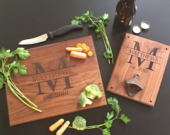 Personalized Cutting Board AND Bottle Opener Set Bridal Shower Gift Wedding Present Christmas QUICK SHIPPING (Item Number EEBB205)