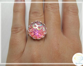 Girly pink craters ring adjustable size