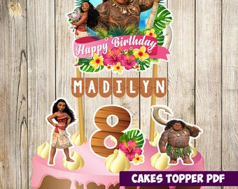 Moana Cake Topper, Moana Birthday, Moana Party, Moana Banderin, Custom and Printable Topper, Moana  birthday