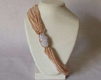 "Lavender Jadeite Carving 14k Gold Peach Pearl Multi-strand Necklace 18.5"" Estate Find"