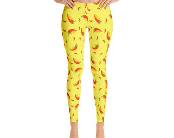 Yellow Pepper Leggings For Women Yoga Pants Yoga Leggings Workout Leggings Pattern Leggings Printed Leggings Fashion Leggings Womens Tights
