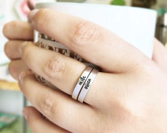 Personalized Stacking Ring - Name Ring - Custom Ring - Customized Jewelry - Mother Gift - Mothers Day Gift - Stamped Ring