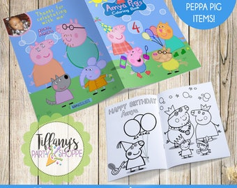 Custom Peppa Pig Coloring Book, Peppa Pig Party Favor, Peppa Pig Favors, Custom Coloring Book, Peppa Pig Personalized Coloring Book