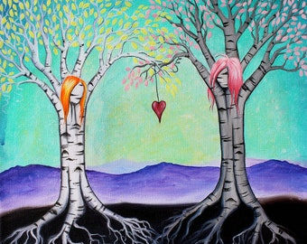The Ties That Bind - 8x10 Art Print - Whimsical Tree Best Girl Friends - Art by Marcia Furman