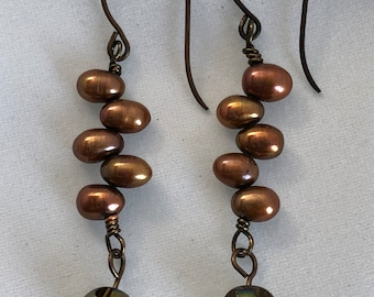 Handcrafted Natural Brass Vintaj Pearl Dangle and Iridescent Glass Bead Pierced Earrings