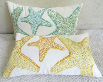 starfish pillow on off white with  yellow and orange. embroidery. Decorative sea theme  pillow. Notical inspired pillow cover 12x18 inches