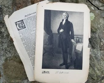 1912 President Thomas Jefferson Picture/Print/antique/ Syndicate Publishing Co/presidents/History/US history/colonial/america/art/4th/July