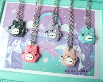 Resin Totoro Glitter Necklace