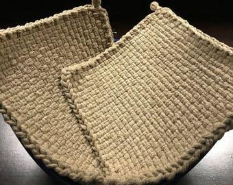Handmade Large Woven Potholder Duo Set in Autumn