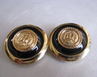 Liz Claiborne Clipon Earrings - Black and Gold Earrings - Clipon 70s Earrings