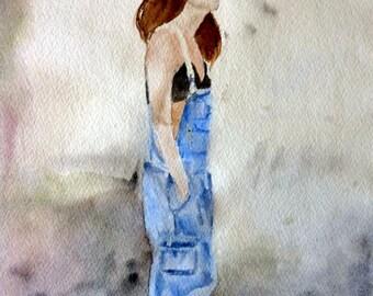watercolor girl in overalls