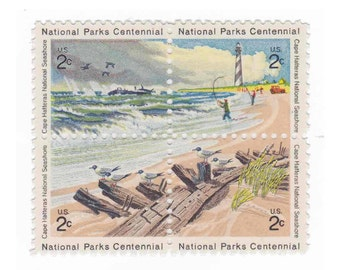 1972 2c Cape Hatteras National Seashore - Unused Vintage US Postage Stamp - Pack of 5 Blocks - Item No. 1448s