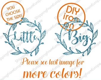 Sorority sisters iron on decals, little big heat transfer patch, floral wreath iron on appliques, big sister little sister appliques