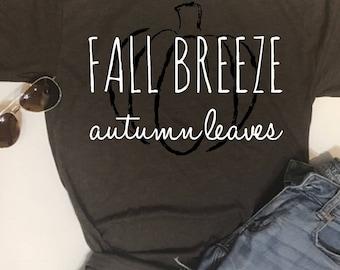 Custom Glitter Fall Breeze Autumn Leaves Glam Shirt | Womens Fall Shirt | Women's Autumn Shirt