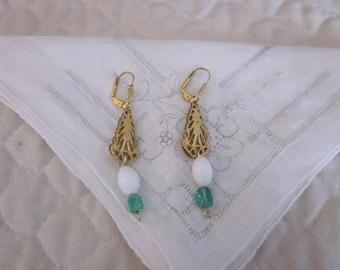 Vintage Inspired Brass Filigree, Milk Glass, Green Bead Pierced Earrings