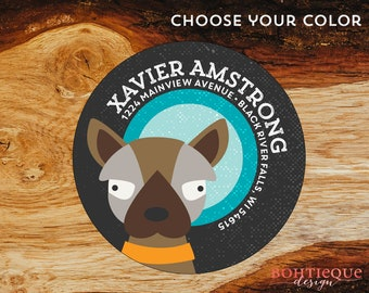 Xavier the Dog Personalized Return Address Label with Color Choices
