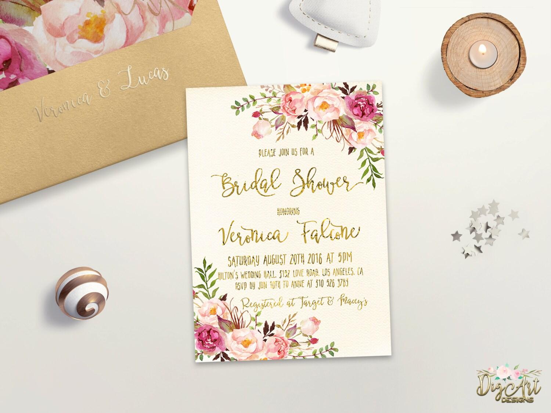 Floral bridal shower invitation printable boho bridal shower zoom filmwisefo Choice Image