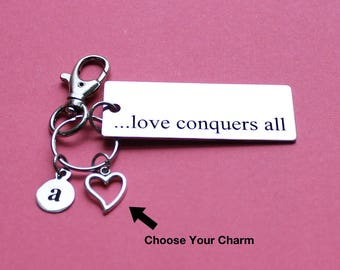 Personalized Love Key Chain Love Conquers All Stainless Steel Customized with Your Charm & Initial - K945