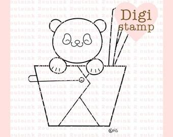 Thai/Chinese Food Panda Digital Stamp - Panda Digital Stamp - Chinese Food Stamp - Panda Art - Thai/Chinese Food Craft Supply