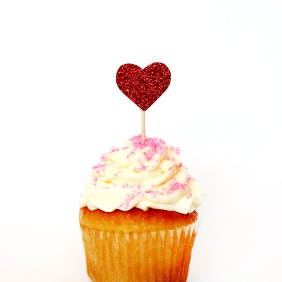 Red Glitter Heart Cupcake Toppers - Bachelorette, First Birthday, Bridal Shower, Wedding, Valentines Day