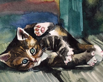 Tabby Calico Cat Kitten Printable Image of my Original Watercolor Painting Instant Download Art Digital Picture Artwork Wall Decor Gift Idea