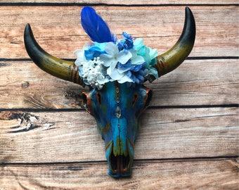 Lorde Blue Faux Cow Head/ Skull