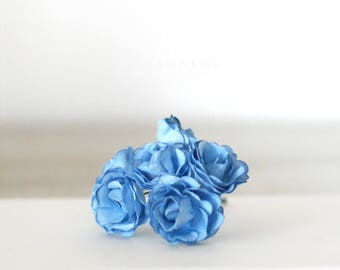 Vintage Style Powder Blue Millinery paper flowers 1 1/4""