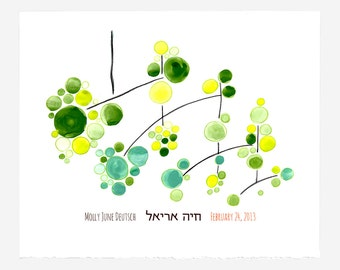 Boyfriend Husband Father Mens Brother print gift - custom name Hebrew Baby shower Todler Birthday Gift - GREEN MOBILE