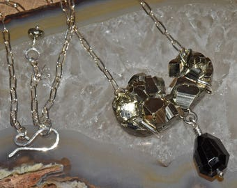 Pyrite FOOLS GOLD Modern Necklace Sterling Silver Black Spinel Stone Necklace