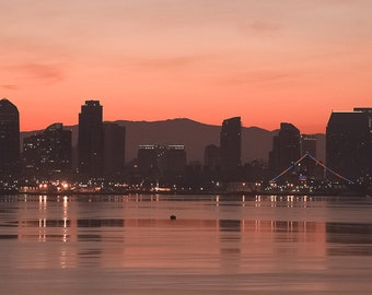 San Diego Fine Art Photo, San Diego sunrise, San Diego skyline, San Diego silhouette, modern art, home art, office art, panoramic print