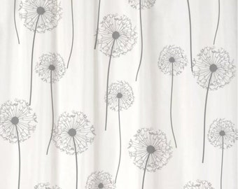 Dandelion Floral Shower Curtain You PICK COLORS Standard or Extra Long Length 70, 78, 84, or 96 Inch Lengths for Your Grey or Gray bathroom