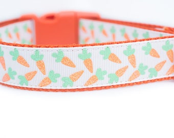 Easter Dog Collar - Carrots Dog Collar - 1 inch wide Dog Collar - buckle or martingale collar - Spring dog collar - orange dog collar  bunny