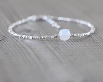 Rainbow Moonstone, Sterling & Fine Silver Bracelet. Dainty Beaded Stacking Bracelet. Delicate Karen Hill Tribe Jewelry. Gemstone Jewellery