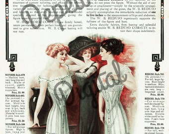 Digital Vintage Antique 1910s W.B. Reduso Corsets Magazine Ad - Print at Home Decor - INSTANT DOWNLOAD
