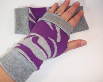 Purple and gray arm warmers/ purple zebra fingerless gloves/ hand warmers