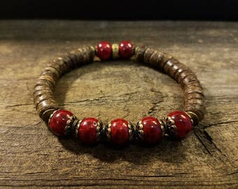 Boho Bracelet, Beaded Bracelet, Rustic Victorian Style Bracelet, Red Bracelet, Stretch Bracelet, Red and Brown Bracelet, size 6 1/2