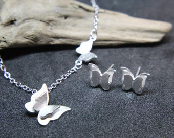 Butterfly necklace or earrings made of 925 sterling silver also for children