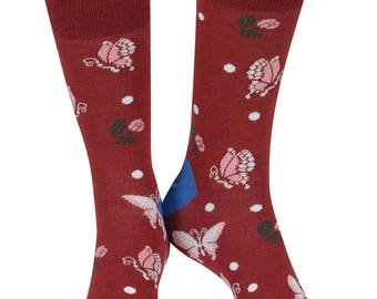 Butterfly soft bamboo organic crew socks, earth | seriouslysillysocks