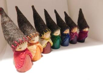 Earth Rainbow Tones  A Set of Seven Gnome Wooden Peg Dolls Waldorf hand crafts
