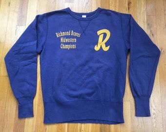 Vintage 1970's Richmond Braves sweatshirt size L(M) navy blue Midwestern Champions pullover crewneck 70s rva virginia va sugar cane cheswick