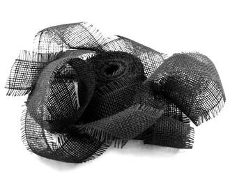 "2.5"" x 10 yards Black Burlap Jute Ribbon for Fall Christmas Decorations"