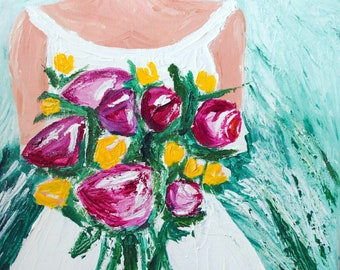 Spring Bride with Peonies and Green Background Original Acrylic Art