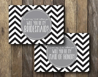 Chevron Bridesmaid Card - Instant Download Bridesmaid Cards - Be my Bridesmaid - Printable Bridesmaid Invitation - Bridesmaid Proposal