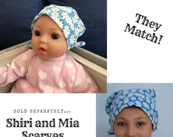 Shiri Children's Doll Head Scarf - A Matching Doll Hat To Our Mia Scarf, Hat, Head Cover, Cancer, Chemo, Alopecia, Hair Loss, White Daisies